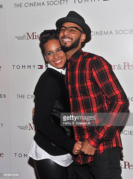 Alicia Keys and Swizz Beatz attend The Cinema Society Tommy Hilfiger screening of 'The Inevitable Defeat of Mister Pete' at Tribeca Grand Hotel on...