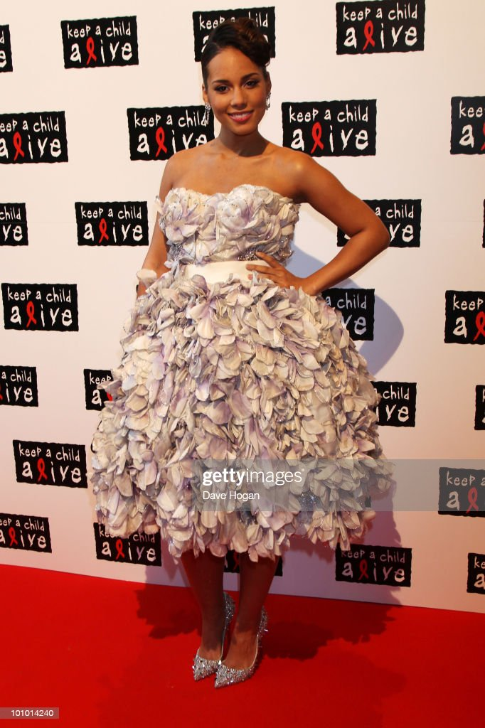 Alicia Keys arrives at the Keep A Child Alive Black Ball held at St John's, Smith Square on May 27, 2010 in London, England.