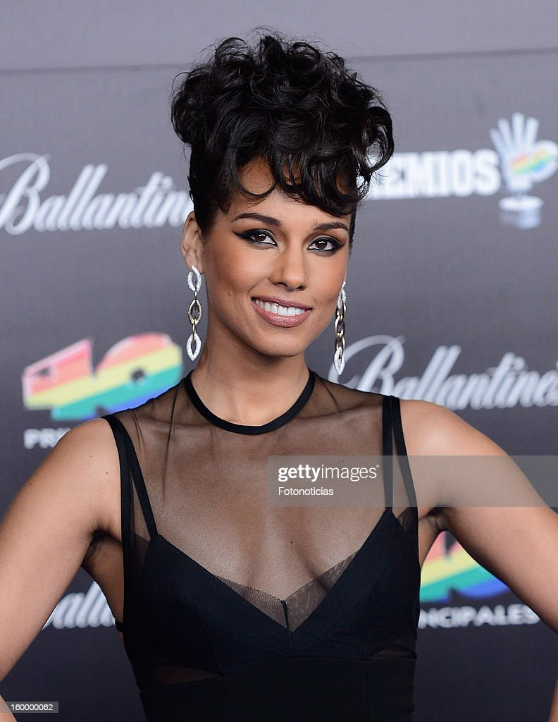 <a gi-track='captionPersonalityLinkClicked' href=/galleries/search?phrase=Alicia+Keys&family=editorial&specificpeople=169877 ng-click='$event.stopPropagation()'>Alicia Keys</a> arrives to '40 Principales Awards' 2012 at the Palacio de Deportes on January 24, 2013 in Madrid, Spain.