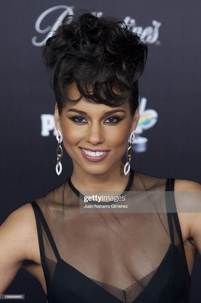 <a gi-track='captionPersonalityLinkClicked' href=/galleries/search?phrase=Alicia+Keys&family=editorial&specificpeople=169877 ng-click='$event.stopPropagation()'>Alicia Keys</a> attends '40 Principales Awards' 2012 photocall at Palacio de los Deportes on January 24, 2013 in Madrid, Spain.