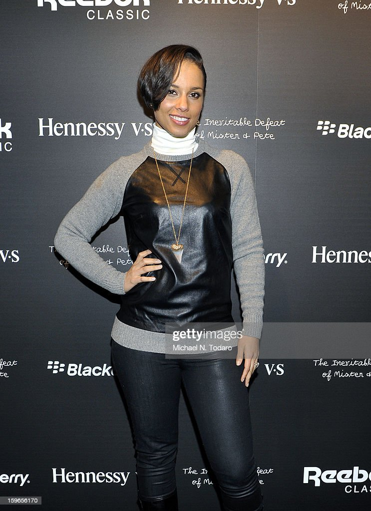 Alicia Keys attends Hennessy VS Presents 'The Inevitable Defeat of Mister and Pete' sponsored by Reebok and Blackberry at the Julie Nester Gallery on January 17, 2013 in Park City, Utah.