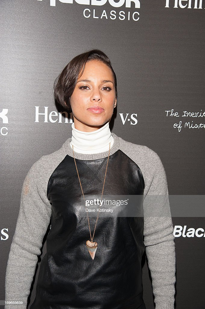 <a gi-track='captionPersonalityLinkClicked' href=/galleries/search?phrase=Alicia+Keys&family=editorial&specificpeople=169877 ng-click='$event.stopPropagation()'>Alicia Keys</a> attends the Hennessy VS Presents 'The Inevitable Defeat of Mister and Pete' sponsored by Reebok and Blackberry at the Julie Nester Gallery on January 17, 2013 in Park City, Utah.