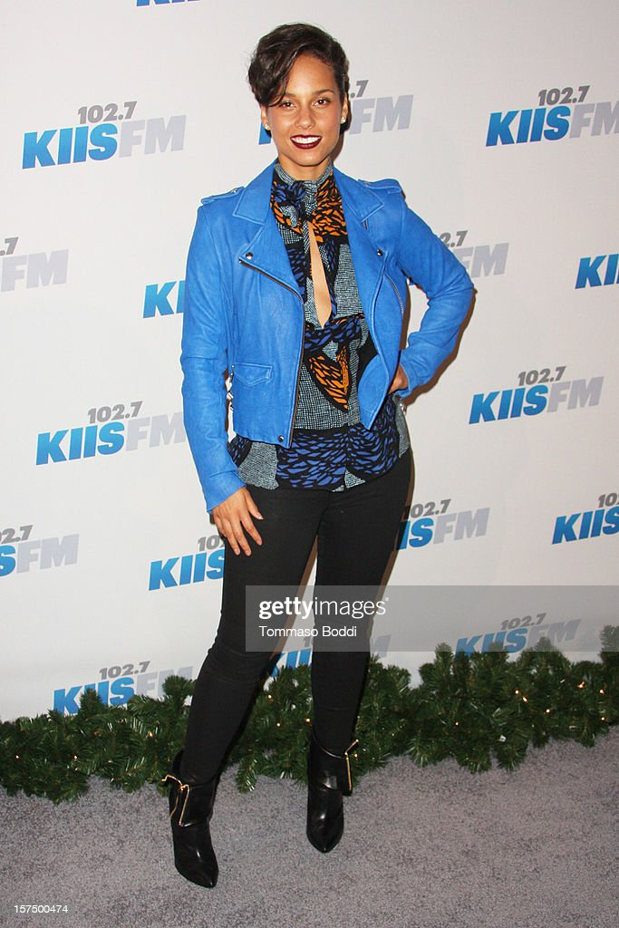 <a gi-track='captionPersonalityLinkClicked' href=/galleries/search?phrase=Alicia+Keys&family=editorial&specificpeople=169877 ng-click='$event.stopPropagation()'>Alicia Keys</a> attends the KIIS FM's Jingle Ball 2012 held at Nokia Theatre LA Live on December 3, 2012 in Los Angeles, California.