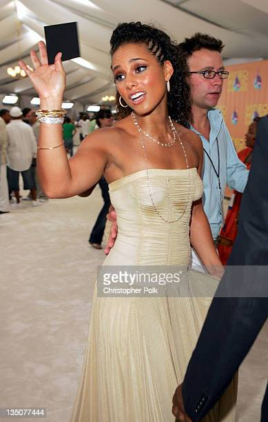 Alicia Keys during 2005 MTV Video Music Awards White Carpet at American Airlines Arena in Miami Florida United States