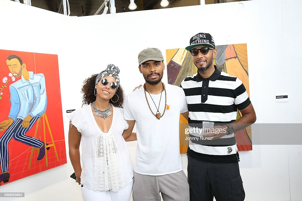 Alicia Keys Marcus Jahmal and Swizz Beatz during the Swizz Beatz And Bacardi Present No Commission NY Art Perform Day 4 on August 14 2016 in New York...