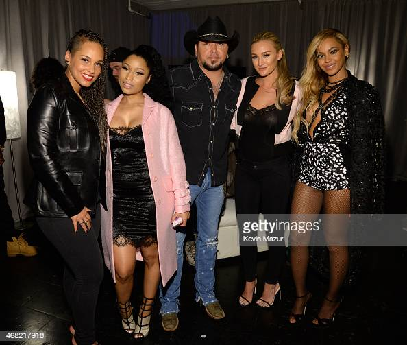 Alicia Keys Nicki Minaj Jason Aldean Brittany Kerr and Beyonce attend the Tidal launch event #TIDALforALL at Skylight at Moynihan Station on March 30...