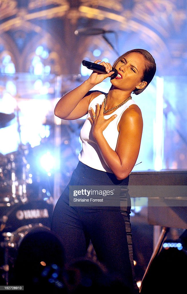 Alicia Keys performs as part of MTV Crashes... at Manchester Cathedral on September 24, 2012 in Manchester, England.