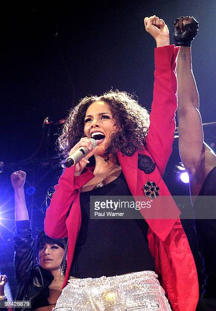 Alicia Keys performs at opening night of the US leg of her 'Freedom' tour at Allstate Arena on March 3 2010 in Rosemont Illinois
