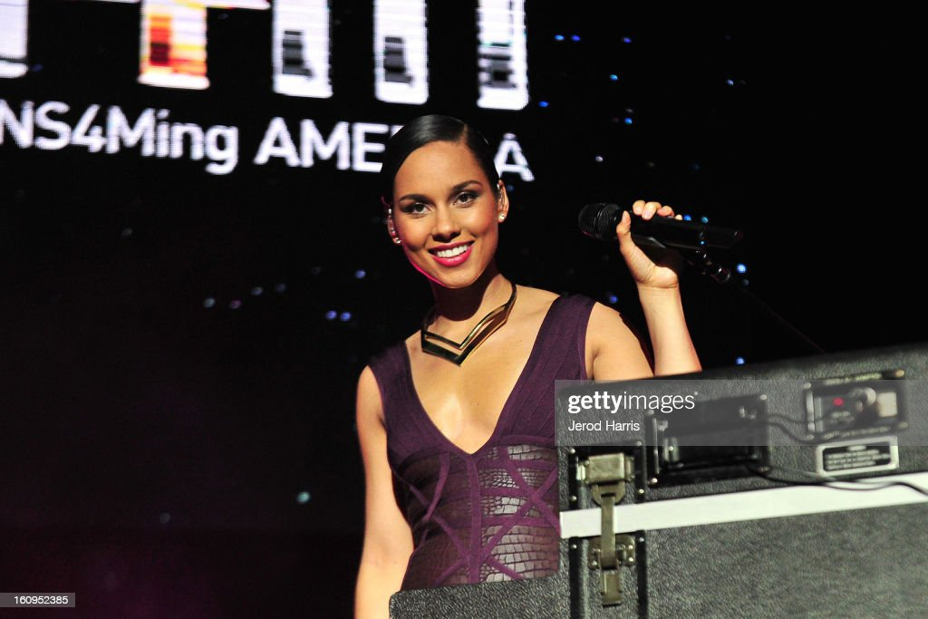 <a gi-track='captionPersonalityLinkClicked' href=/galleries/search?phrase=Alicia+Keys&family=editorial&specificpeople=169877 ng-click='$event.stopPropagation()'>Alicia Keys</a> performs at will.i.am's Annual TRANS4M Concert Benefitting I.Am.Angel Foundation on February 7, 2013 in Hollywood, California.