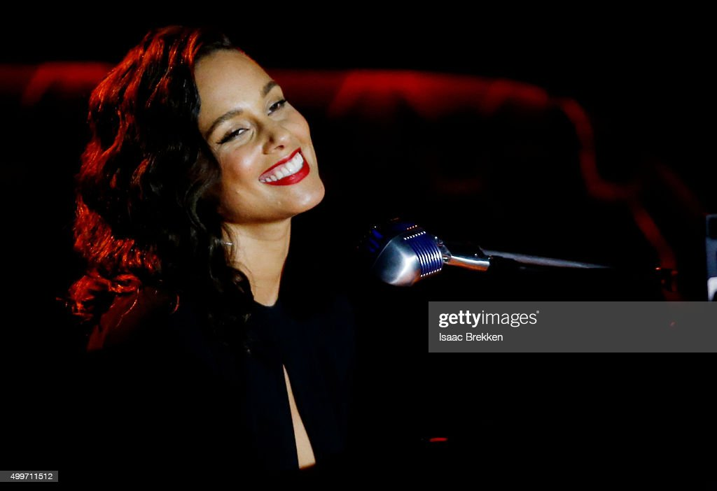Alicia Keys performs during 'Sinatra 100 An AllStar GRAMMY Concert' celebrating the late Frank Sinatra's 100th birthday at the Encore Theater at Wynn...
