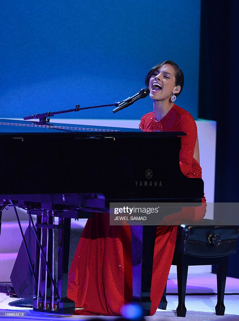 Alicia Keys performs during the Commander-in-Chief's Inaugural Ball at the Washington Convention Center January 21, 2013 in Washington, DC. AFP PHOTO / Jewel SAMAD
