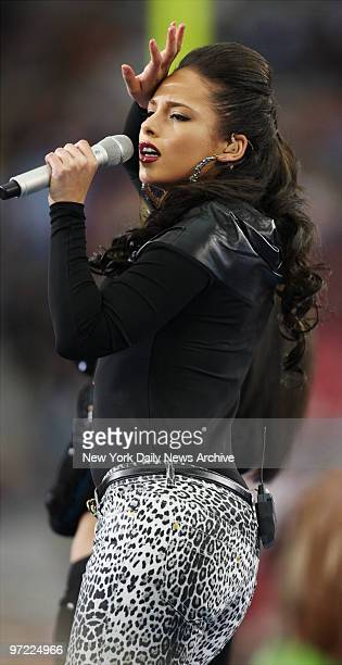 Alicia Keys performs during the pregame show before the start of Super Bowl XLII between the New York Giants and New England Patriots at the...