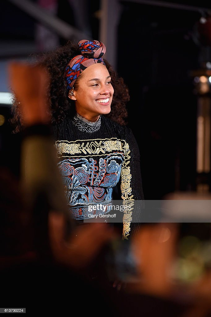 Alicia Keys performs in Times Square on October 9, 2016 in New York City.