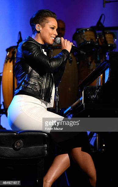 Alicia Keys performs onstage at 2014 MusiCares Person Of The Year Honoring Carole King at Los Angeles Convention Center on January 24 2014 in Los...