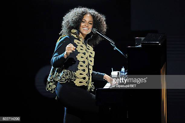 Alicia Keys performs onstage during BET Networks 2016 Upfront at Rose Hall at Jazz at Lincoln Center on April 20 2016 in New York City