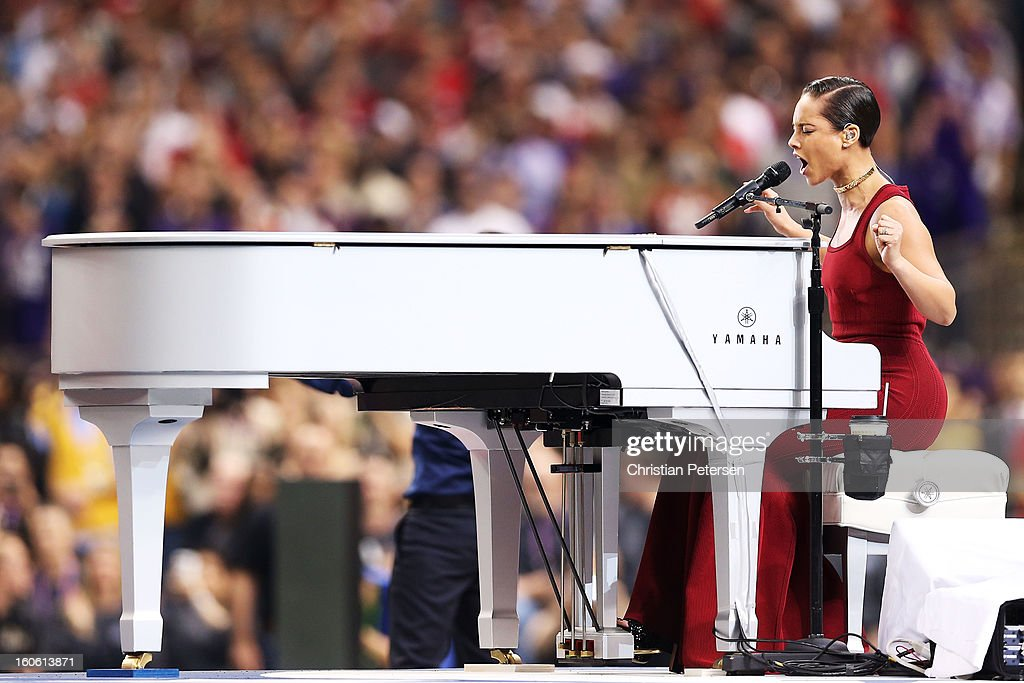 Alicia Keys performs the National Anthem during Super Bowl XLVII between the Baltimore Ravens and the San Francisco 49ers at the Mercedes-Benz Superdome on February 3, 2013 in New Orleans, Louisiana.
