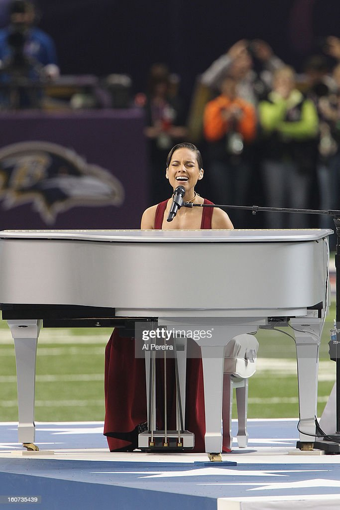 Alicia Keys performs The National Anthem during the Pepsi Super Bowl XLVII Pregame Show at Mercedes-Benz Superdome on February 3, 2013 in New Orleans, Louisiana.