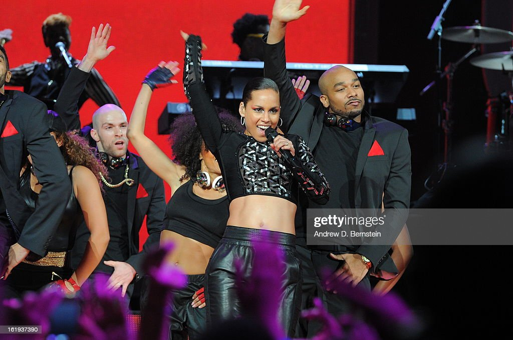 Alicia Keys preforms during halftime at the 2013 NBA All-Star Game on February 17, 2013 at Toyota Center in Houston, Texas.