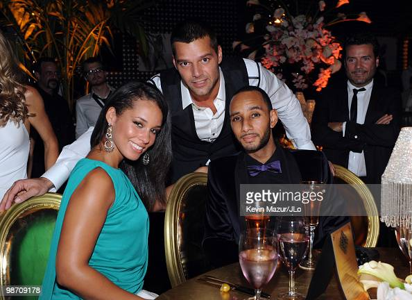 NEW YORK JULY 25 *EXCLUSIVE COVERAGE* Alicia Keys Ricky Martin and Swizz Beatz attend Jennifer Lopez's Surprise Birthday Party at the Edison Ballroom...