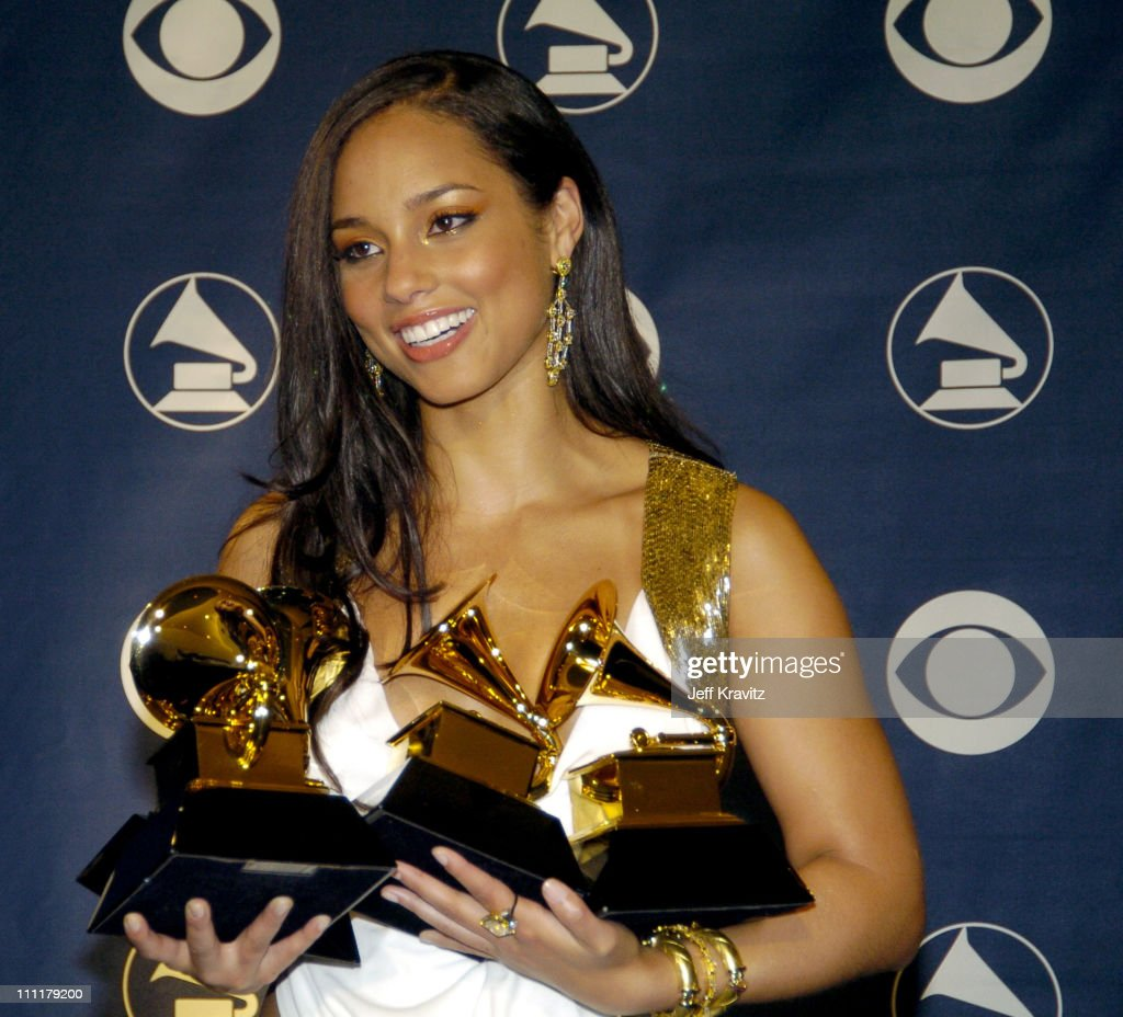 Alicia Keys, winner of Best R&B Song for 'You Don't Know My Name,' Best R&B Album for 'The Diary of Alicia Keys,' Best Female R&B Vocal Performance for 'If I Ain't Got You' and Best R&B Performance By A Duo Or Group With Vocals (with Usher) for 'My Boo'