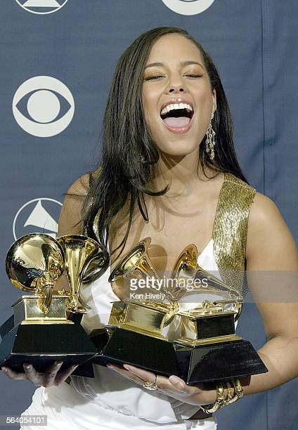 Alicia Keys won 4 Grammys at the 47th annual Grammy Awards at the Staples Center in Los Angeles Sunday February 13 2005