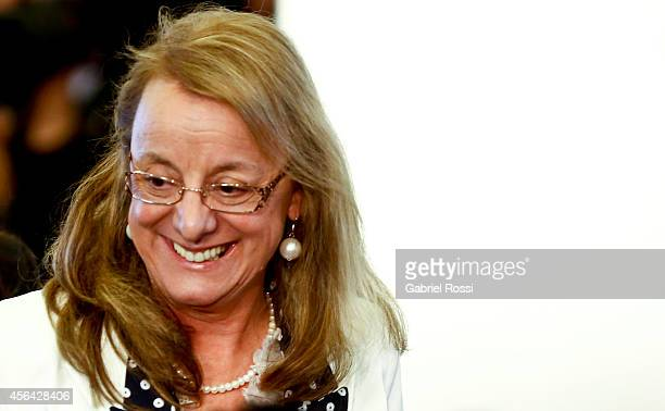 Alicia Kirchner Minister of Social Development smiles during a press conference at the Presidential Palace on September 30 2014 in Buenos Aires...