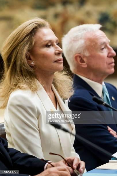 Alicia Koplowitz attends meet the members of 'Princesa de Asturias Foundation' at El Pardo Royal Palace on June 16 2017 in Madrid Spain