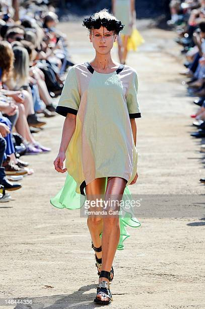 Alicia Kuczman walks the catwalk during the Cavalera show during Sao Paulo Fashion Week Spring/Summer 2013 Collections on June 16 2012 in Sao Paulo...