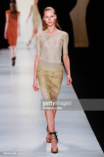 Alicia Kuczman walks the runway at the Animale show during Sao Paulo Fashion Week Spring/Summer 2013 Collections on June 11 2012 in Sao Paulo Brazil