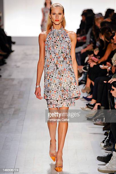 Alicia Kuczman walks the runway during Forum show at Sao Paulo Fashion Week Spring/Summer 2013 Collections Show on June 13 2012 in Sao Paulo Brazil
