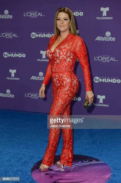 Alicia Machado arrives at Telemundo's 2017 'Premios Tu Mundo' at American Airlines Arena on August 24 2017 in Miami Florida