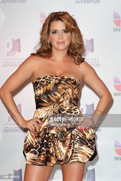 Alicia Machado arrives at Univision's Premios Juventud Awards at Bank United Center on July 19 2012 in Miami Florida