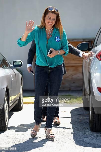 Alicia Machado campaigns for Hillary Clinton on August 20 2016 in Miami Florida