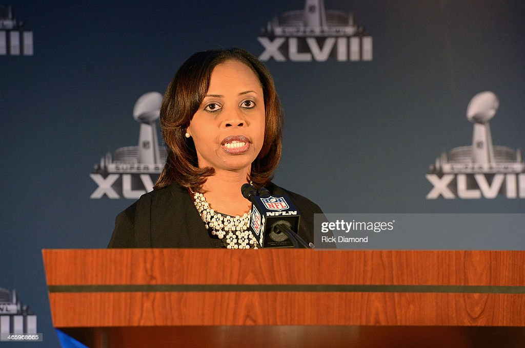 Alicia Matthews of St. Jude Children's Research Hospital speaks at the Super Bowl Gospel Celebration press conference at Super Bowl XLVIII Media Center, Sheraton Times Square on January 30, 2014 in New York City.
