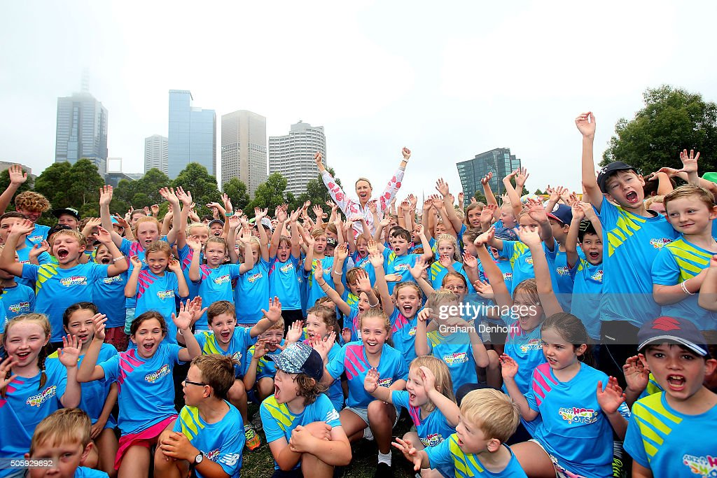Alicia Molik and ANZ Hot Shot participants pose at Kids' World at Birrarung Marr during day four of the 2016 Australian Open at Melbourne Park on...