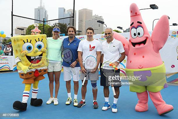 Alicia Molik Henri Leconte Billy Slater and Mansour Bahrami pose with Nickelodeon characters Spongebob Squarepants and Patrick Star following the...
