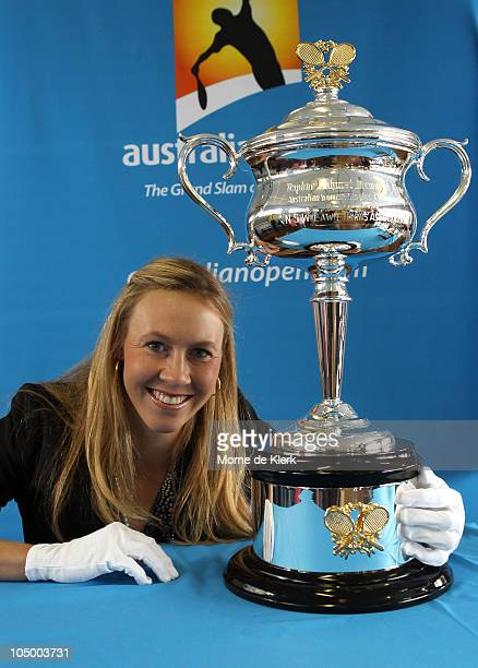 Alicia Molik holds a replica of the Daphne Akhurst Memorial Cup during the Australian Open Trophy Tour at Tennis SA on October 8 2010 in Adelaide...