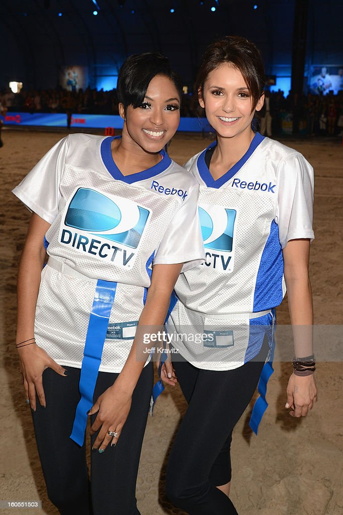 Alicia Quarles and Nina Dobrev attend DIRECTV'S 7th Annual Celebrity Beach Bowl at DTV SuperFan Stadium at Mardi Gras World on February 2, 2013 in New Orleans, Louisiana.