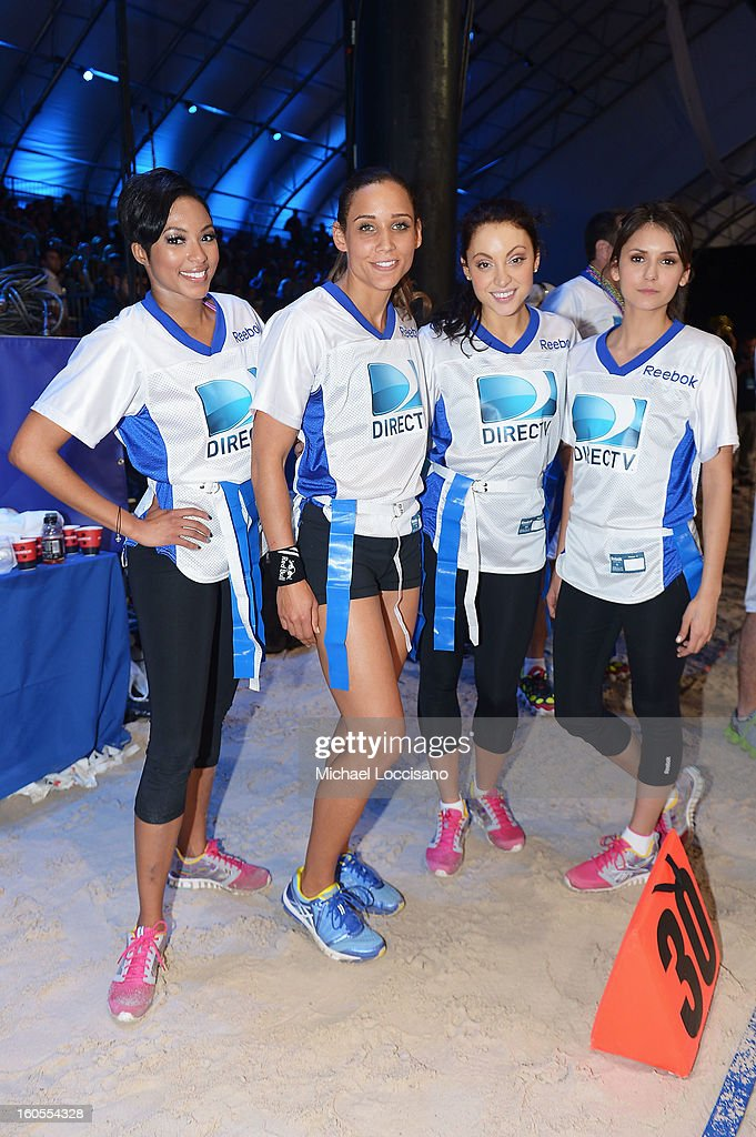 Alicia Quarles, Lolo Jones, Leah Gibson and Nina Dobrev attend DIRECTV'S Seventh Annual Celebrity Beach Bowl at DTV SuperFan Stadium at Mardi Gras World on February 2, 2013 in New Orleans, Louisiana.
