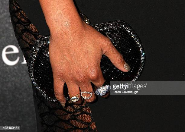 Alicia Quarles purse detail attends the 2015 Angel Ball at Cipriani Wall Street on October 19 2015 in New York City