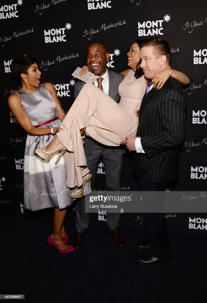 Alicia Quarles Unik Ernest Rosario Dawson and Stephen Baldwin attend Montblanc Celebrates 90 Years of the Iconic Meisterstuck on April 3 2014 at...