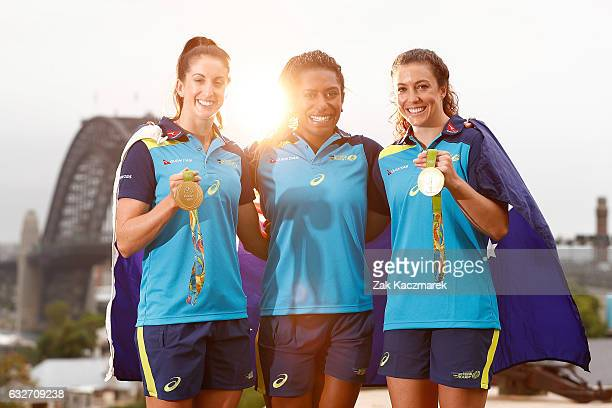 Alicia Quirk Ellia Green and Emilee Cherry pose with Olympic Gold Medals at Observatory Hill on January 26 2017 in Sydney Australia The Australian...