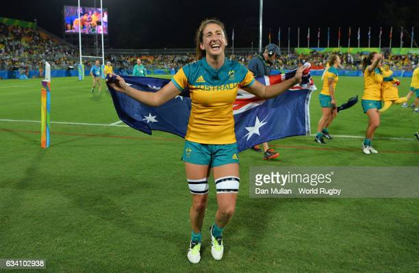 Alicia Quirk of Australia celebrates following victory during the Women's Rugby Sevens Gold Medal match between Australia and New Zealand on day 3 of...