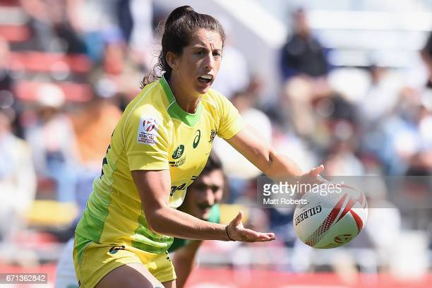 Alicia Quirk of Australia passes the ball during the HSBC World Rugby Women's Sevens Series 2016/17 Kitakyushu pool match between Australia and...
