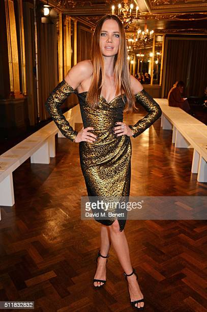 Alicia Rountree attends the Emilio de la Morena show during London Fashion Week Autumn/Winter 2016/17 at Hotel Cafe Royal on February 23 2016 in...