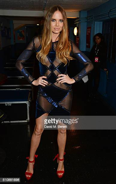 Alicia Rountree poses in the Winners Room at the NME Awards with Austin Texas at the O2 Academy Brixton on February 17 2016 in London England