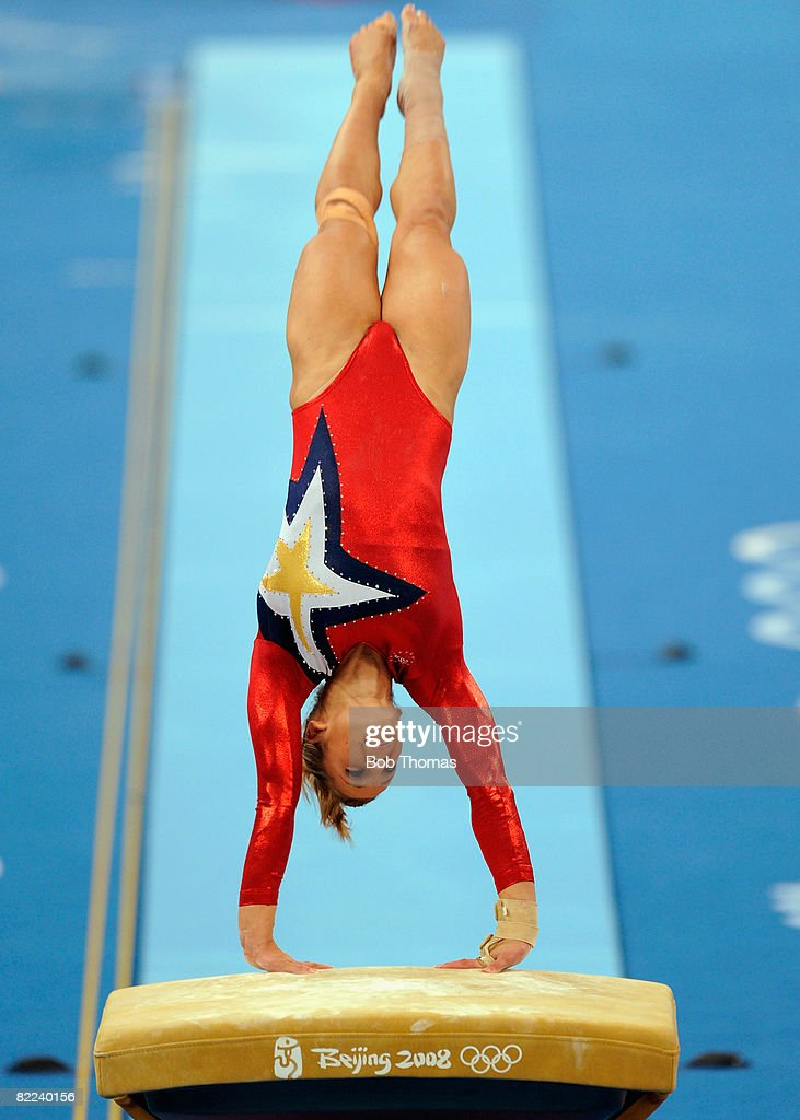 Alicia Sacramone of the USA performs on the vault during qualification for the women's artistic gymnastics event held at the National Indoor Stadium during Day 2 of the 2008 Summer Olympic Games on August 10, 2008 in Beijing, China.