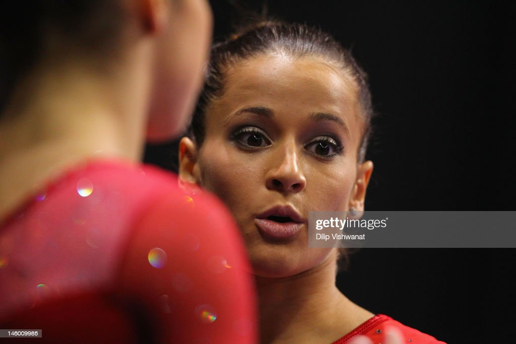 <a gi-track='captionPersonalityLinkClicked' href=/galleries/search?phrase=Alicia+Sacramone&family=editorial&specificpeople=227036 ng-click='$event.stopPropagation()'>Alicia Sacramone</a> talks to a teammate prior to competing on the balance bar during the Senior Women's competition on day two of the Visa Championships at Chaifetz Arena on June 8, 2012 in St. Louis, Missouri.