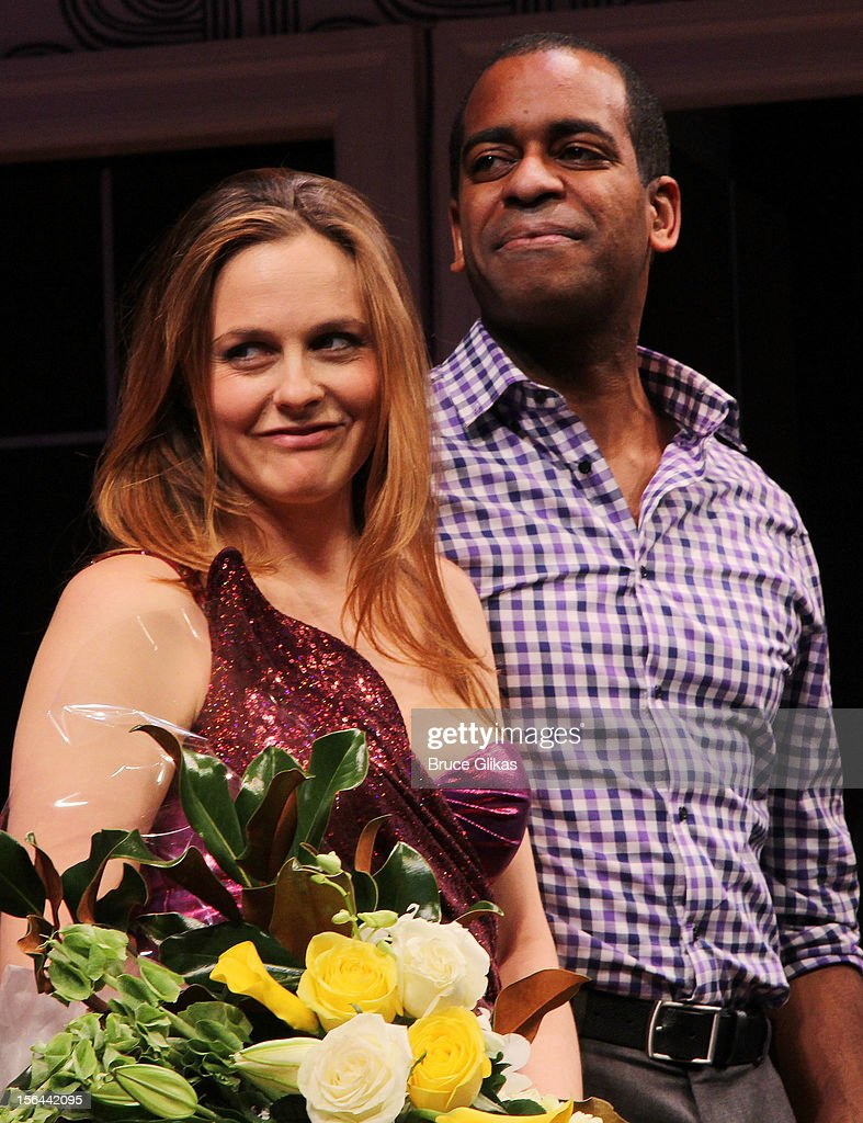 <a gi-track='captionPersonalityLinkClicked' href=/galleries/search?phrase=Alicia+Silverstone&family=editorial&specificpeople=202861 ng-click='$event.stopPropagation()'>Alicia Silverstone</a> and <a gi-track='captionPersonalityLinkClicked' href=/galleries/search?phrase=Daniel+Breaker&family=editorial&specificpeople=712417 ng-click='$event.stopPropagation()'>Daniel Breaker</a>take the opening night curtain call for 'The Performers' on Broadway at the Longacre Theatre on November 14, 2012 in New York City.