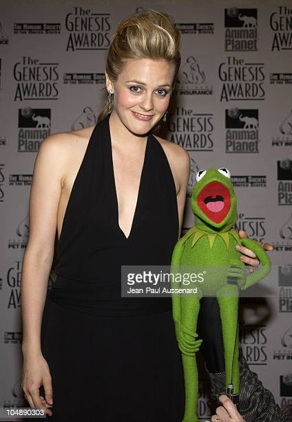 Alicia Silverstone Kermit The Frog during The 17th Annual Genesis Awards Pressroom at The Beverly Hilton in Beverly Hills California United States